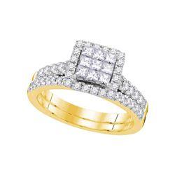 Princess Diamond Bridal Wedding Ring Band Set 1 Cttw 14kt Yellow Gold - REF-82Y9N