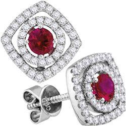 Womens Round Ruby Diamond Fashion Earrings 7/8 Cttw 18kt White Gold - REF-109N5F