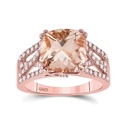 Womens Cushion Morganite Diamond Solitaire Ring 4 Cttw 14kt Rose Gold - REF-96Y9N