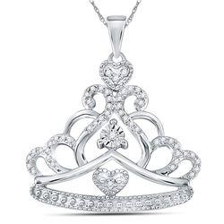 Womens Round Diamond Crown Tiara Fashion Pendant 1/6 Cttw 14kt White Gold - REF-20R5X