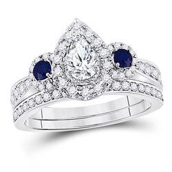 Pear Diamond Bridal Wedding Ring Band Set 7/8 Cttw 14kt White Gold - REF-104W9K