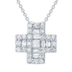 0.69 CTW Diamond Necklace 18K White Gold - REF-72W2H