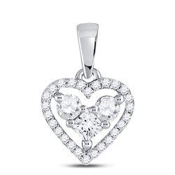 Womens Princess Diamond Fashion Heart Pendant 1/3 Cttw 10kt White Gold - REF-19R5X