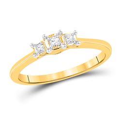Round Diamond 3-stone Bridal Wedding Engagement Ring 1/12 Cttw 10kt Yellow Gold - REF-15K5Y