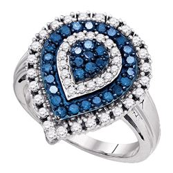 Womens Round Blue Color Enhanced Diamond Teardrop Cluster Ring 1 Cttw 10kt White Gold - REF-45M5H
