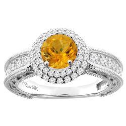1.25 CTW Citrine & Diamond Ring 14K White Gold - REF-91Y6V