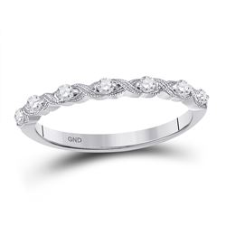 Womens Round Diamond XOXO Stackable Band Ring 1/8 Cttw 14kt White Gold - REF-15W9K