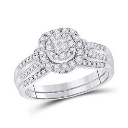 Princess Diamond Bridal Wedding Ring Band Set 1/2 Cttw 14kt White Gold - REF-61M9H