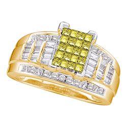 Princess Yellow Color Enhanced Diamond Bridal Wedding Ring 1-1/2 Cttw 14kt Yellow Gold - REF-109F5W