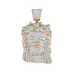 Mens Round Diamond Jesus Face Charm Pendant 1-3/4 Cttw 10kt Yellow Gold - REF-85A5M