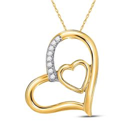 Womens Round Diamond Nested Heart Pendant 1/20 Cttw 10kt Yellow Gold - REF-7A5M
