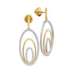 Womens Round Diamond Oval Dangle Earrings 1/2 Cttw 10kt Two-tone Gold - REF-35F5W