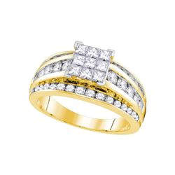 Womens Princess Diamond Square Solitaire Ring 1-1/2 Cttw 14kt Yellow Gold - REF-122N5F