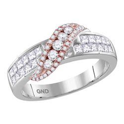 Womens Princess Diamond Crossover Band Ring 1 Cttw 14kt Two-tone Gold - REF-65F5W