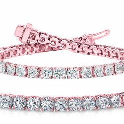 Natural 7.02ct VS2-SI1 Diamond Tennis Bracelet 18K Rose Gold - REF-682Y5M