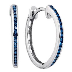 Blue Color Enhanced Round Diamond Womens Slender Hoop Earrings 1/10 Cttw 10k White Gold - REF-9X5A