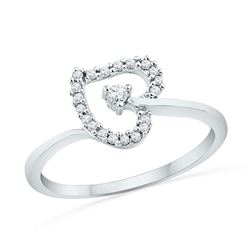 Womens Round Diamond Heart Outline Solitaire Ring 1/8 Cttw 10kt White Gold - REF-12R5X
