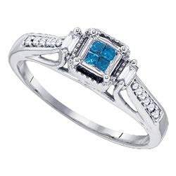 Princess Blue Color Enhanced Diamond Bridal Engagement Ring 1/4 Cttw 10kt White Gold - REF-18N9F