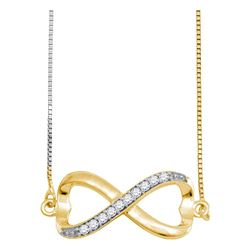 Womens Round Diamond Infinity Pendant Necklace 1/10 Cttw 10kt Yellow Gold - REF-12R9X