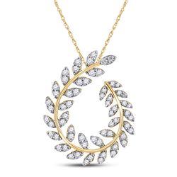 Womens Round Diamond Vine Leaf Teardrop Pendant 3/4 Cttw 14kt Yellow Gold - REF-43M5H