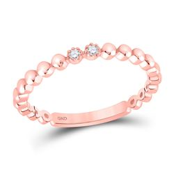 Womens Round Diamond 2-Stone Stackable Band Ring .03 Cttw 10kt Rose Gold - REF-7K5Y