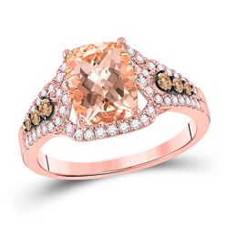 Womens Cushion Morganite Diamond Solitaire Ring 1/2 Cttw 14kt Rose Gold - REF-63W9K