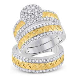 His Hers Round Diamond Cluster Matching Wedding Set 1-1/2 Cttw 14kt Two-tone Gold - REF-186H5R