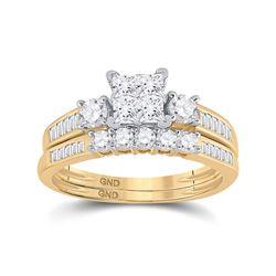 Princess Diamond Bridal Wedding Ring Band Set 1 Cttw Size 8 14kt Yellow Gold - REF-75H9R