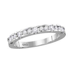 Womens Round Diamond Wedding Band Ring 1/2 Cttw 14kt White Gold - REF-43X5A