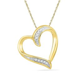 Womens Round Diamond Heart Outline Pendant .03 Cttw 10kt Yellow Gold - REF-5M9H