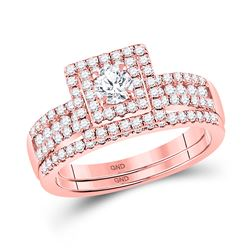 Round Diamond Bridal Wedding Ring Band Set 7/8 Cttw 14kt Rose Gold - REF-76X5A