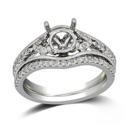 0.32 CTW Diamond Wedding Ring Set 14K White Gold - REF-43M7F