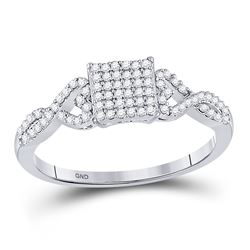 Womens Round Diamond Square Cluster Ring 1/4 Cttw 10kt White Gold - REF-14Y9N