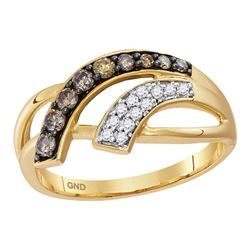 Womens Round Brown Diamond Band Ring 1/3 Cttw 10kt Yellow Gold - REF-23A5M