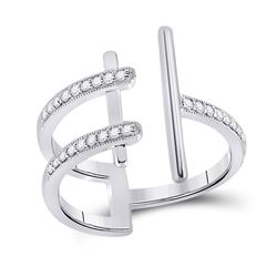 Womens Round Diamond Bisected Linear Fashion Ring 1/5 Cttw 14kt White Gold - REF-27M9H