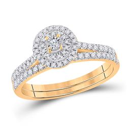 Round Diamond Bridal Wedding Ring Band Set 1/3 Cttw 10kt Yellow Gold - REF-27W9K