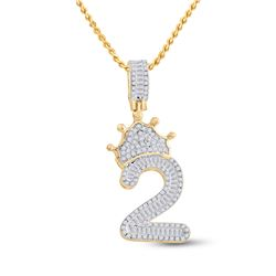Mens Baguette Diamond Number 2 Crown Charm Pendant 3/4 Cttw 10kt Yellow Gold - REF-29N5F