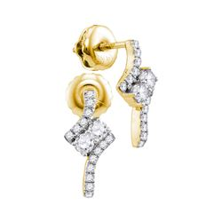 Womens Round Diamond 2-stone Earrings 1/4 Cttw 14kt Yellow Gold - REF-21A5M