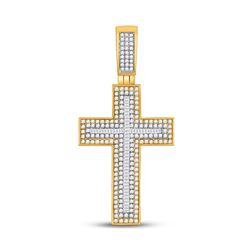 Mens Baguette Diamond Cross Charm Pendant 1-1/2 Cttw 10kt Yellow Gold - REF-65R5X