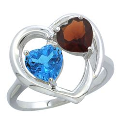2.61 CTW Diamond, Swiss Blue Topaz & Garnet Ring 14K White Gold - REF-33R9H