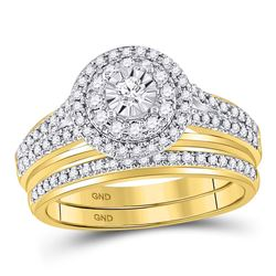 Round Diamond Bridal Wedding Ring Band Set 1/2 Cttw 14kt Yellow Gold - REF-71X9A