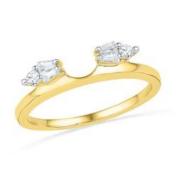 Womens Baguette Diamond Ring Guard Wrap Solitaire Enhancer 1/5 Cttw 14kt Yellow Gold - REF-23X5A