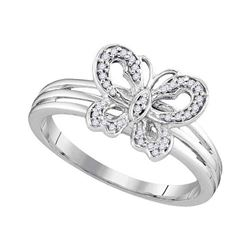 Womens Round Diamond Butterfly Bug Ring 1/8 Cttw 10kt Two-tone Gold - REF-14W5K