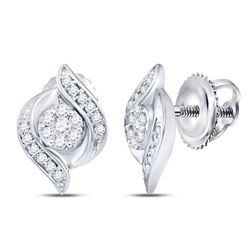 Womens Round Diamond Flower Cluster Stud Earrings 1/4 Cttw 14kt White Gold - REF-27F9W