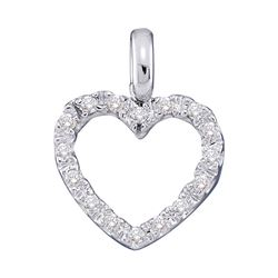 Womens Round Diamond Heart Pendant 1/10 Cttw 10kt White Gold - REF-5W9K