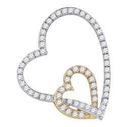 Womens Round Diamond Double Linked Heart Pendant 1/3 Cttw 10kt White Two-tone Gold - REF-16Y9N