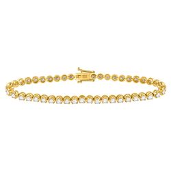 Womens Round Diamond Classic Tennis Bracelet 4 Cttw 14kt Yellow Gold - REF-214H9R