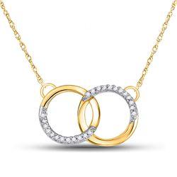Womens Round Diamond Interlocking Double Circle Pendant Necklace 1/10 Cttw 10kt Yellow Gold - REF-15