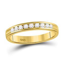 Womens Round Diamond Single Row Wedding Band 1/4 Cttw 14kt Yellow Gold - REF-27A9M