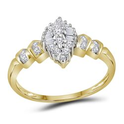 Womens Round Diamond Marquise-shape Cluster Ring 1/4 Cttw 10kt Yellow Gold - REF-12X9A
